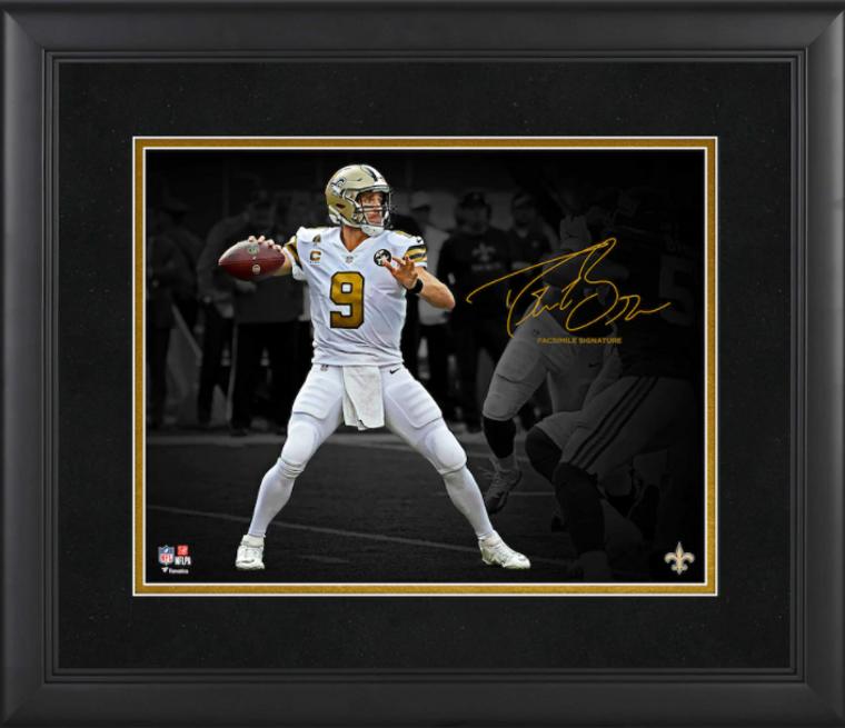 Drew Brees New Orleans Saints Framed Spotlight Photograph - Facsimile Signature
