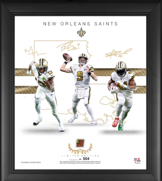 New Orleans Saints Framed Franchise Foundations Collage with a Piece of Game Used Football - Limited Edition of 504 - Second Edition