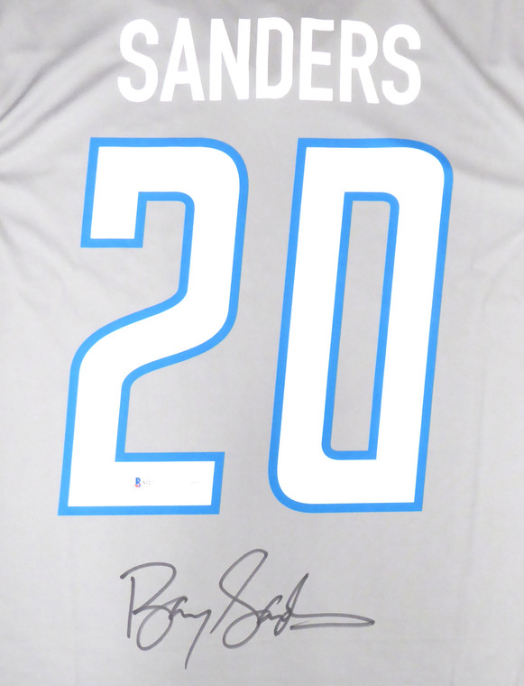 Barry Sanders Detroit Lions Signed Gray Nike Jersey Size L