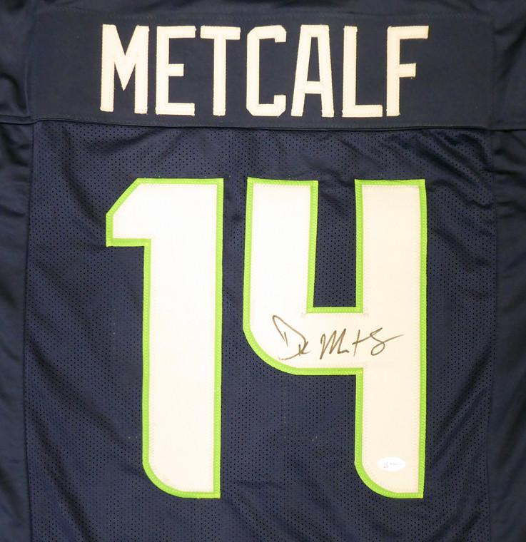 DK Metcalf Seattle Seahawks Signed Blue Custom Jersey