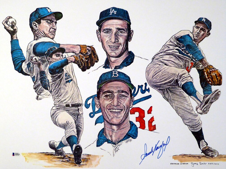 Sandy Koufax Los Angeles Dodgers Signed 18x24 Lithograph