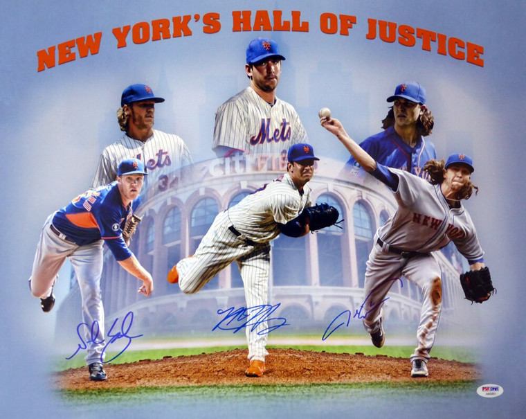 New York Mets Pitching Greats Signed 16x20 Photo With 3 Signatures Including Matt Harvey, Jacob deGrom & Noah Syndergaard