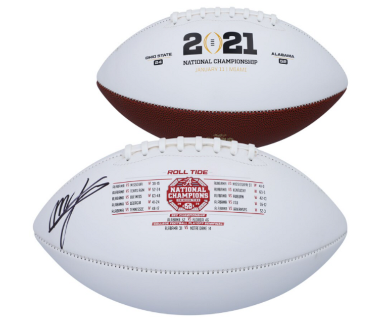 Mac Jones Alabama Crimson Tide Signed 2020 National Champions White Panel Football