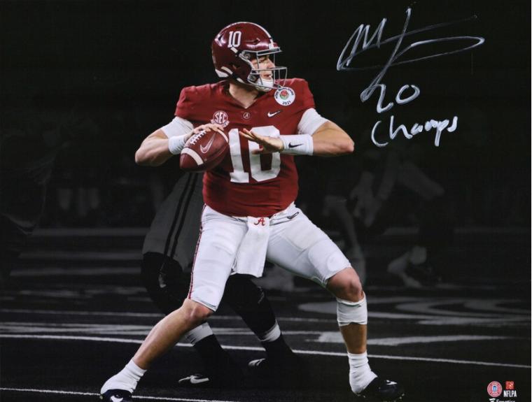 "Mac Jones Alabama Crimson Tide Signed Spotlight Photograph with ""20 Champs"" Inscription"