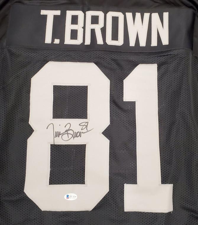 Tim Brown Oakland Raiders Signed Black Custom Jersey