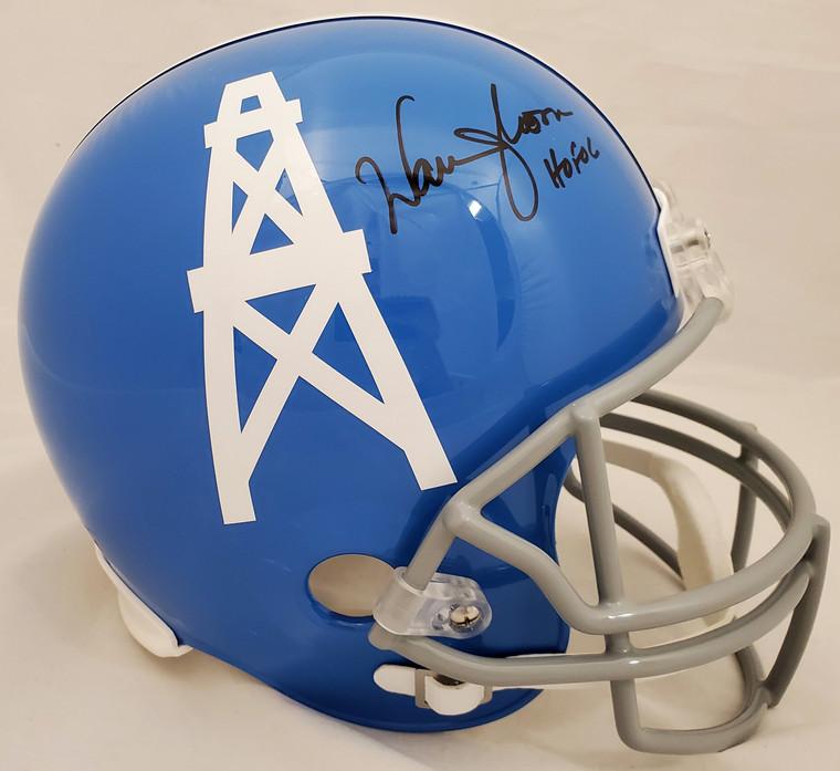 "Warren Moon Autographed Houston Oilers Full Size Light Blue Replica Throwback Helmet ""HOF 06"""