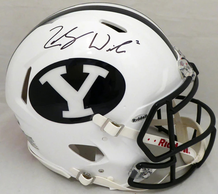 Zach Wilson BYU Cougars Signed Full Size Authentic Speed Helmet