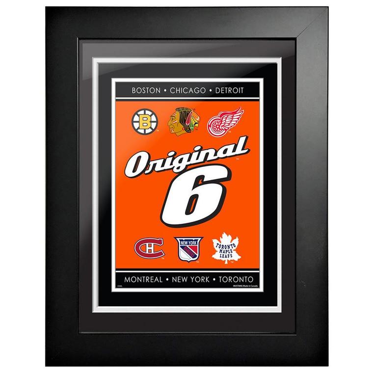 NHL Original 6 Logo Framed Artwork-Script 18 x 14