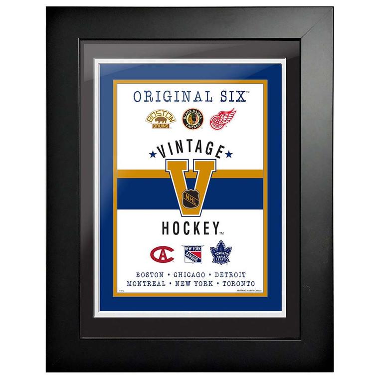 NHL Original 6 Logo Framed Artwork-Vintage 18 x 14