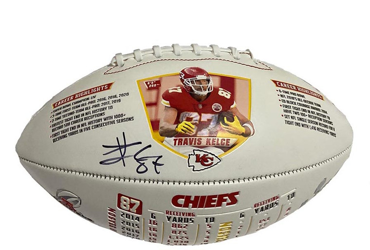 Travis Kelce Kansas City Chiefs 2020 Record Breaking Autographed Exclusive Limited Edition Football