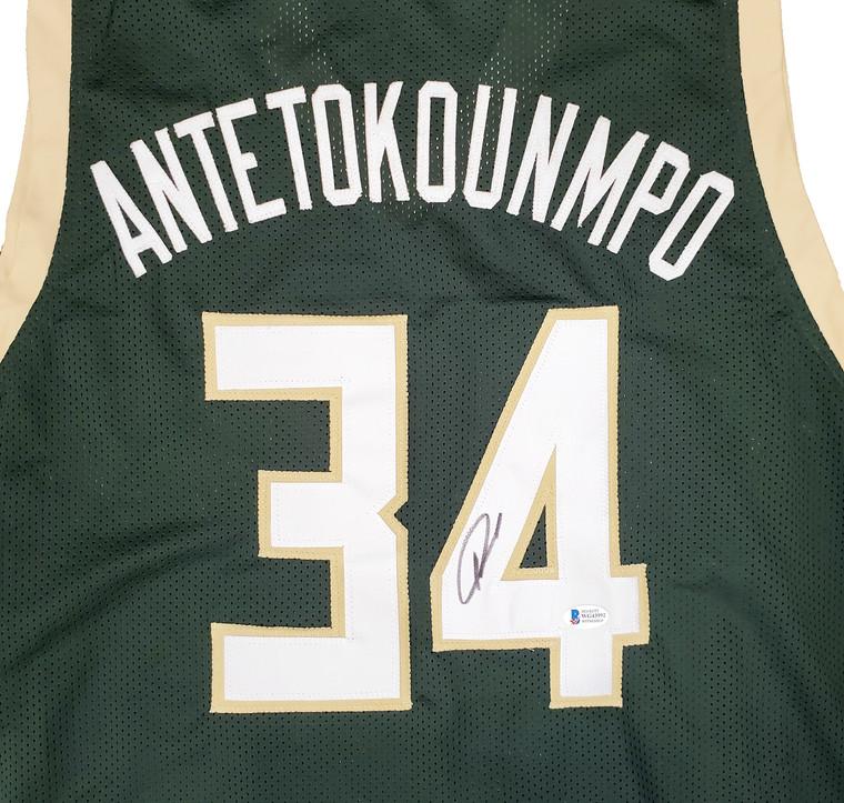 Giannis Antetokounmpo Milwaukee Bucks Autographed Green Custom Jersey