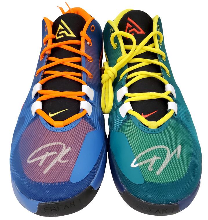 Giannis Antetokounmpo Milwaukee Bucks Autographed Total Orange Nike Zoom Freak 1 Shoes