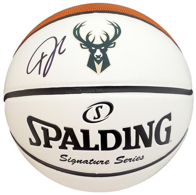 Giannis Antetokounmpo Milwaukee Bucks Autographed White Logo Basketball