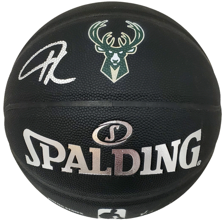 Giannis Antetokounmpo Milwaukee Bucks Signed Spalding Official Black Logo Basketball