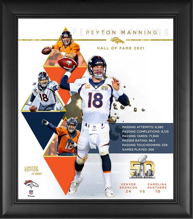 Peyton Manning Denver Broncos Limited Edition Exclusive HOF Framed Collage