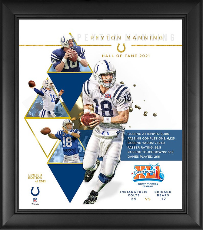 Peyton Manning Indianapolis Colt Limited Edition Exclusive HOF Framed Collage