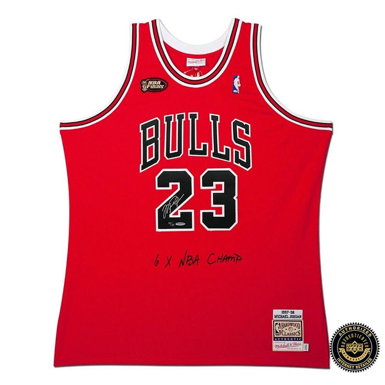 Michael Jordan Autographed & Embroidered Chicago Bulls 1997-98 Red With NBA Finals Patch Authentic Mitchell & Ness Jersey