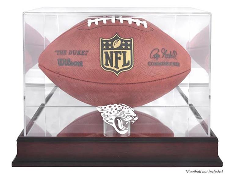 Jacksonville Jaguars Logo Mahogany Football Display Case
