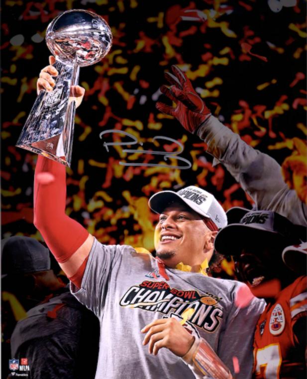 "Patrick Mahomes Kansas City Chiefs Super Bowl LIV Champions Signed 16"" x 20"" Super Bowl LIV Trophy Photograph"