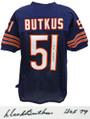 Dick Butkus signed navy custom football jersey with 'HOF 79' inscription.