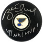 Brett Hull Signed St Louis Blue Logo Hockey Puck w/91 NHL MVP