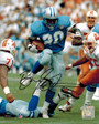 Barry Sanders Signed Lions Blue Jersey Action 8x10 Photo