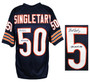 Mike Singletary Signed Navy Custom Throwback Jersey w/1985, 88 NFL DPOY