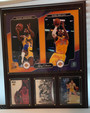 Los Angeles Lakers Dynasty 12x15 Wood Base Photo Plaque 8x10 Dual Photo of Magic Johnson and Kobe Bryant and 3 Basketball Cards