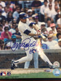 "Ryne Sandberg Signed Chicago Cubs Swinging Action 8x10 Photo with ""HOF 05"" inscription"