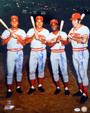 Cincinnati Reds Big Red Machine Autographed 16x20 Photo signed by Johnny Bench, Pete Rose, Joe Morgan & Tony Perez PSA/DNA Letter