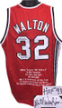 "Bill Walton Portland Trailblazers Autographed Red Throwback Custom Stitched Jersey inscribed ""HOF 93"" w/ Embroidered Stats XL"