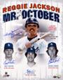 "Reggie Jackson Autographed 16x20 Photo - New York Yankees & Dodgers Pitchers ""3 HR 10-18-77"" With 4 Signatures Including Reggie Jackson, Burt Hooton, Elias Sosa, and Charlie Hough PSA/DNA"