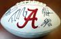 Dynasty Running Backs Autographed Football - Alabama Crimson Tide White Wilson Logo With 4 Signatures Including Eddie Lacy, Mark Ingram, Derrick Henry & Trent Richardson PSA/DNA