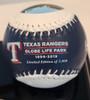 Texas Rangers Globe Life Field First Season 3-Ball Set with Display Case
