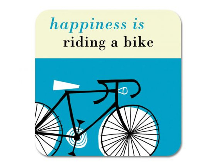 Happiness is Riding a Bike Coaster Turquoise