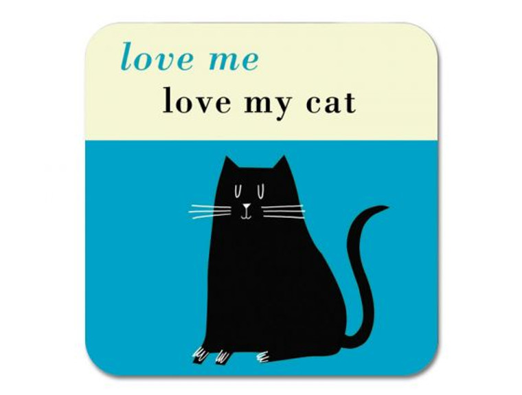 Love me Love My Cat Coaster Turquoise