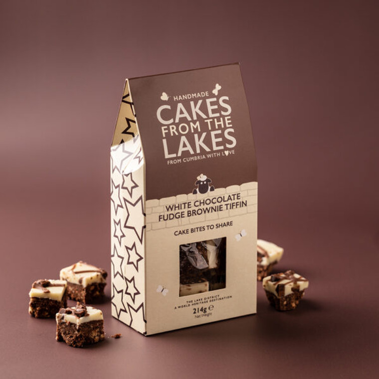 Cakes from The Lakes White Chocolate Fudge Brownie Tiffin Cake Bites