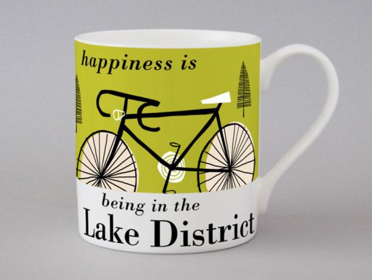 Happiness Is Being In The Lake District Bike Mug Green