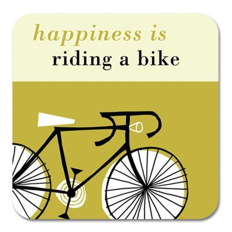 Happiness is Riding a Bike Coaster Olive