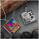 Wild Heart Reversible Square Pendant