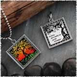 Tree of Life Color Reversible Square Pendant