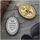 Vintage Bee Reversible Silver Oval Pendant