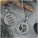 Music Reversible Stainless Steel Pendant