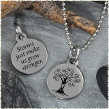 Tree Storms Reversible Stainless Steel Pendant