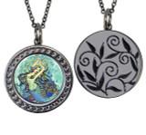 """Mermaid Circular Reversible Vintage """"Leaf"""" Pendant"""
