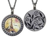 "Paris Circular Reversible Vintage ""Leaf"" Pendant"