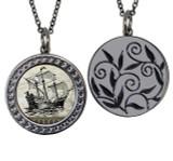 "Ship Circular Reversible Vintage ""Leaf"" Pendant"