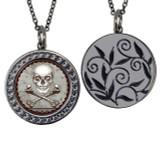 "Skull Circular Reversible Vintage ""Leaf"" Pendant"