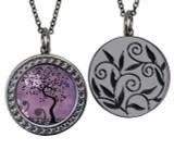 "Tree of Life Purple Circular Reversible Vintage ""Leaf"" Pendant"