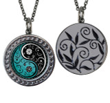 "Yin Yang Circular Reversible Vintage ""Leaf"" Pendant"